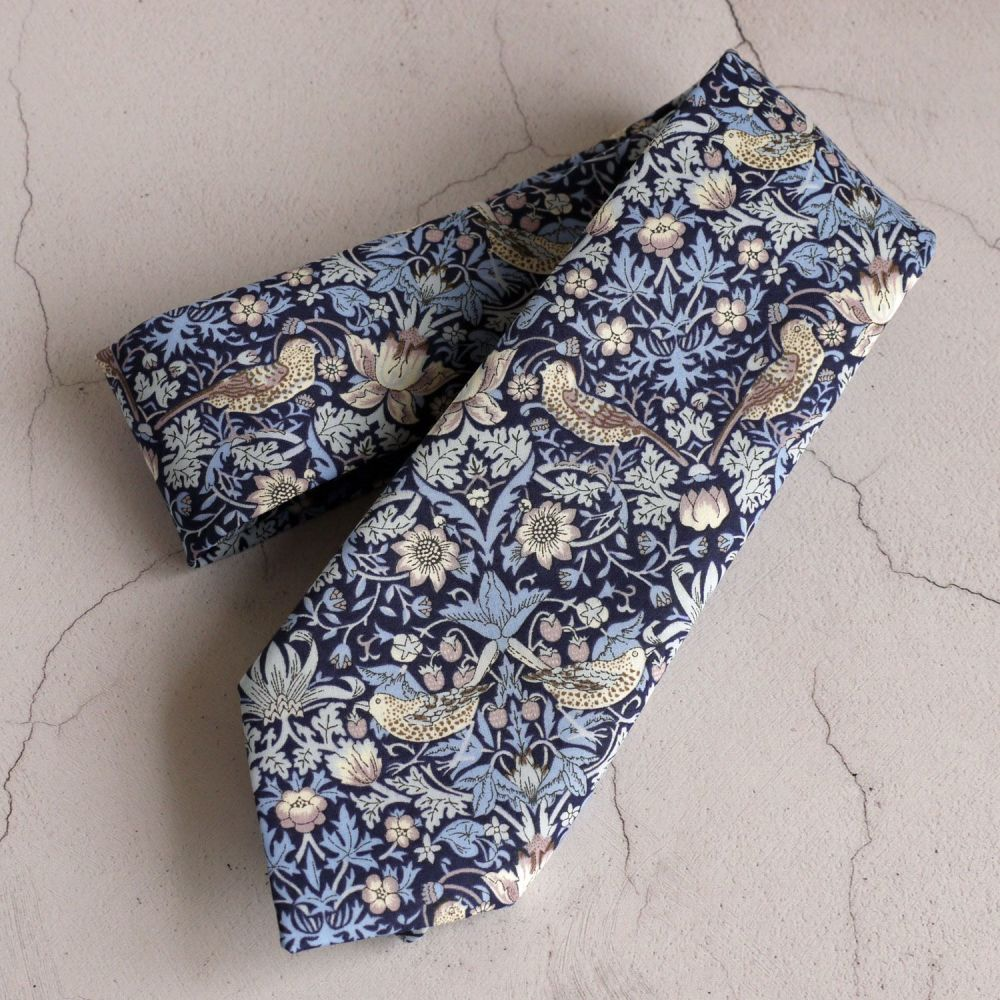 Gentleman's hand stitched tie - Strawberry Thief blue and lilac