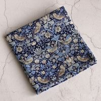 Strawberry Thief blue and lilac pocket square