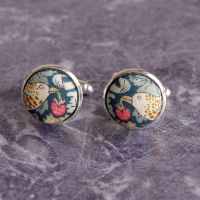 Liberty Strawberry Thief green silver plated cuff links