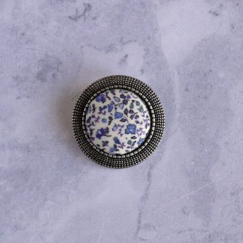Liberty print brooch - Newland blue
