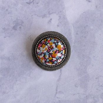 Liberty print brooch - Pepper orange