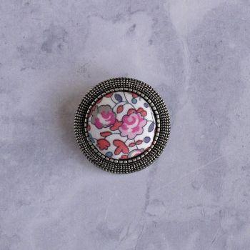 Liberty print brooch - Eloise peach pink