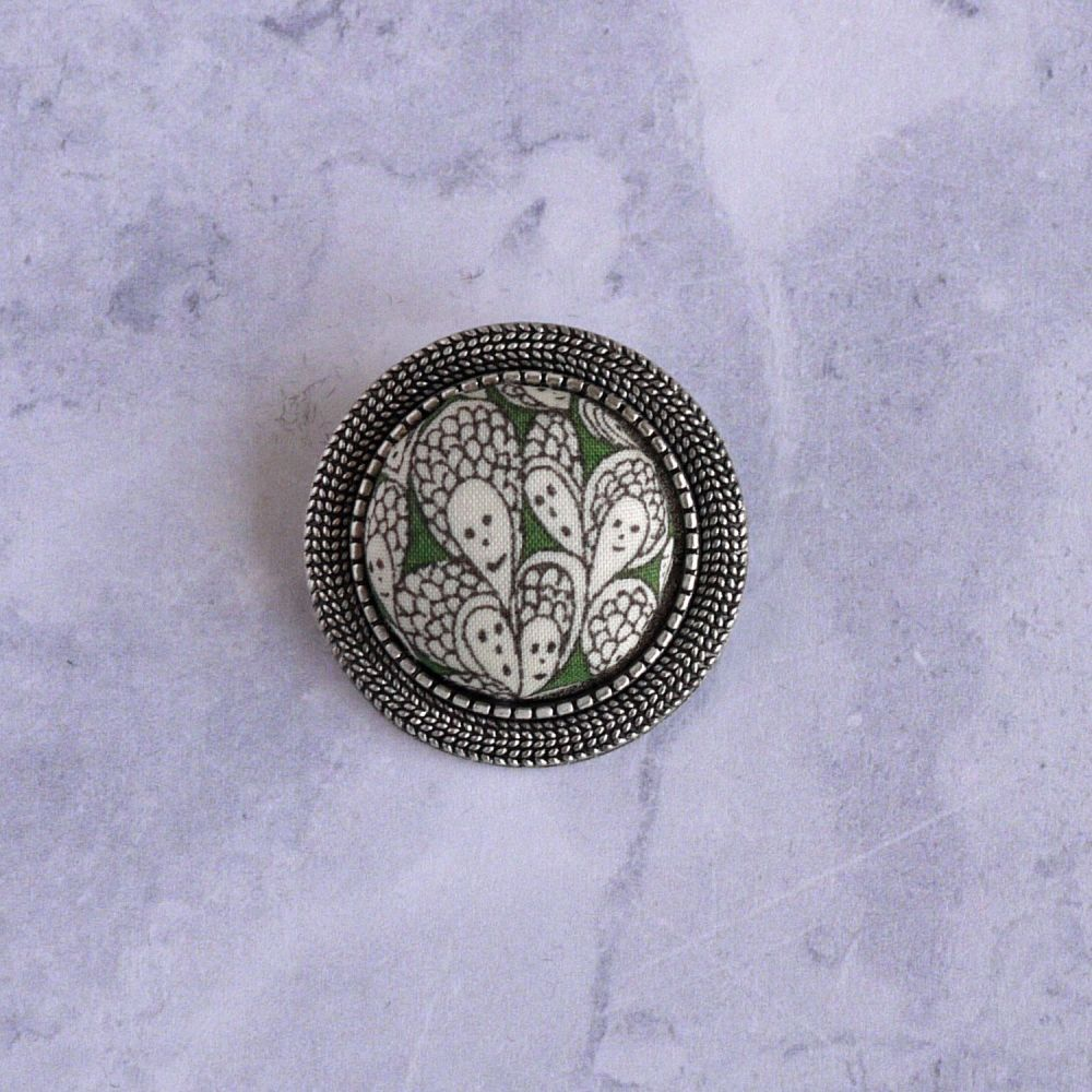 Liberty print brooch - Cranford green