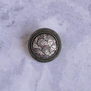 Liberty print brooch - Cranford pink