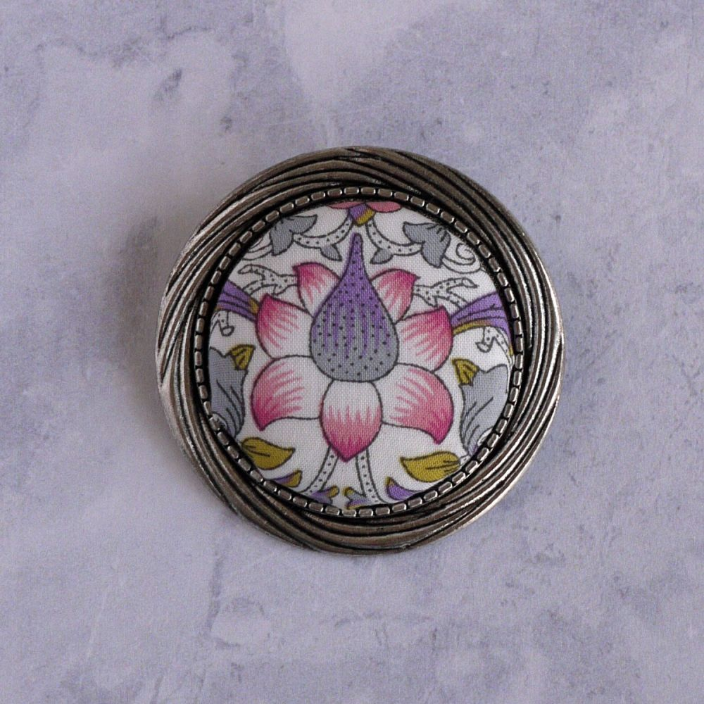 Liberty print brooch - Lodden purple