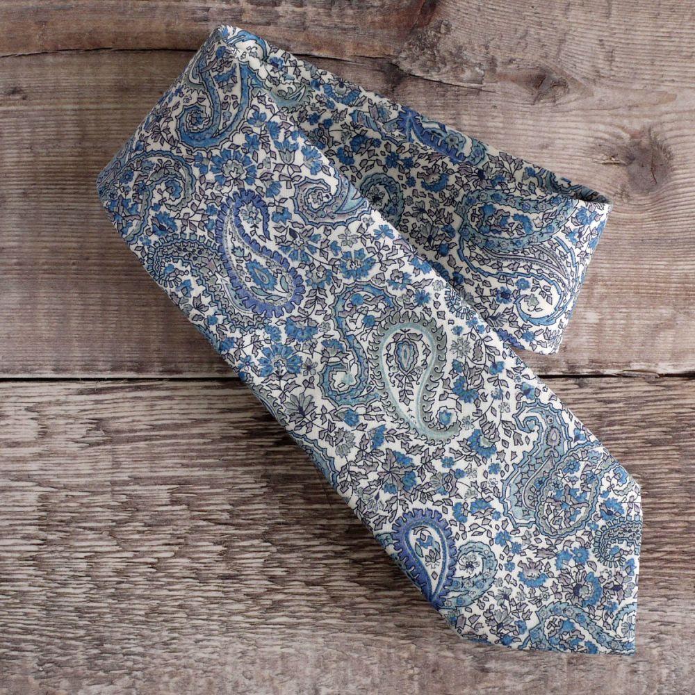 Gentleman's hand-stitched paisley tie - Charles blue