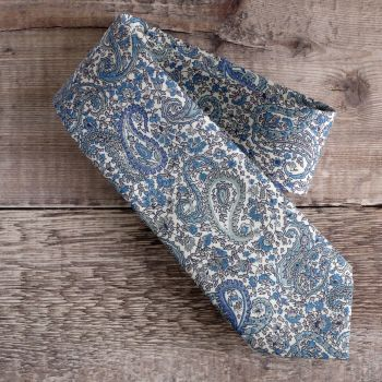 Gentleman's hand-stitched paisley tie - Charles blue