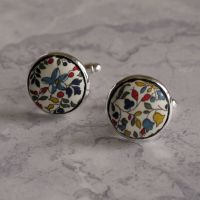 Liberty tana lawn silver plated cufflinks - Katie and Millie multicolour