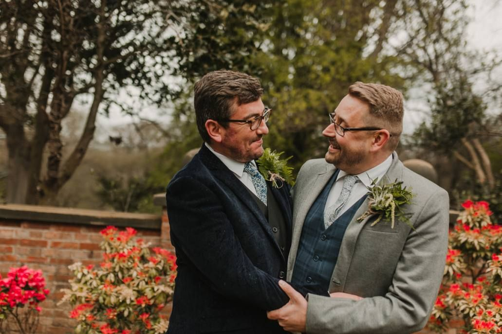 Liberty print ties for same sex wedding