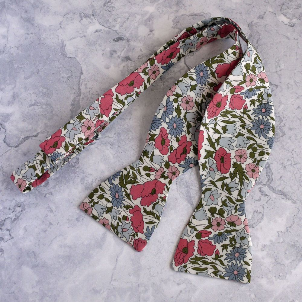 Floral Liberty print bow tie - Poppy and Daisy pink and blue