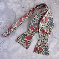 Floral bow tie made from Liberty fabric Poppy & Daisy pink