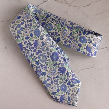 Floral Liberty print tie - D'Anjo - blue and turquoise tie