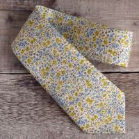 Blue and yellow floral Liberty tana lawn tie - Phoebe yellow