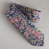 Gentleman's hand-stitched floral pink and blue tie - Tatum