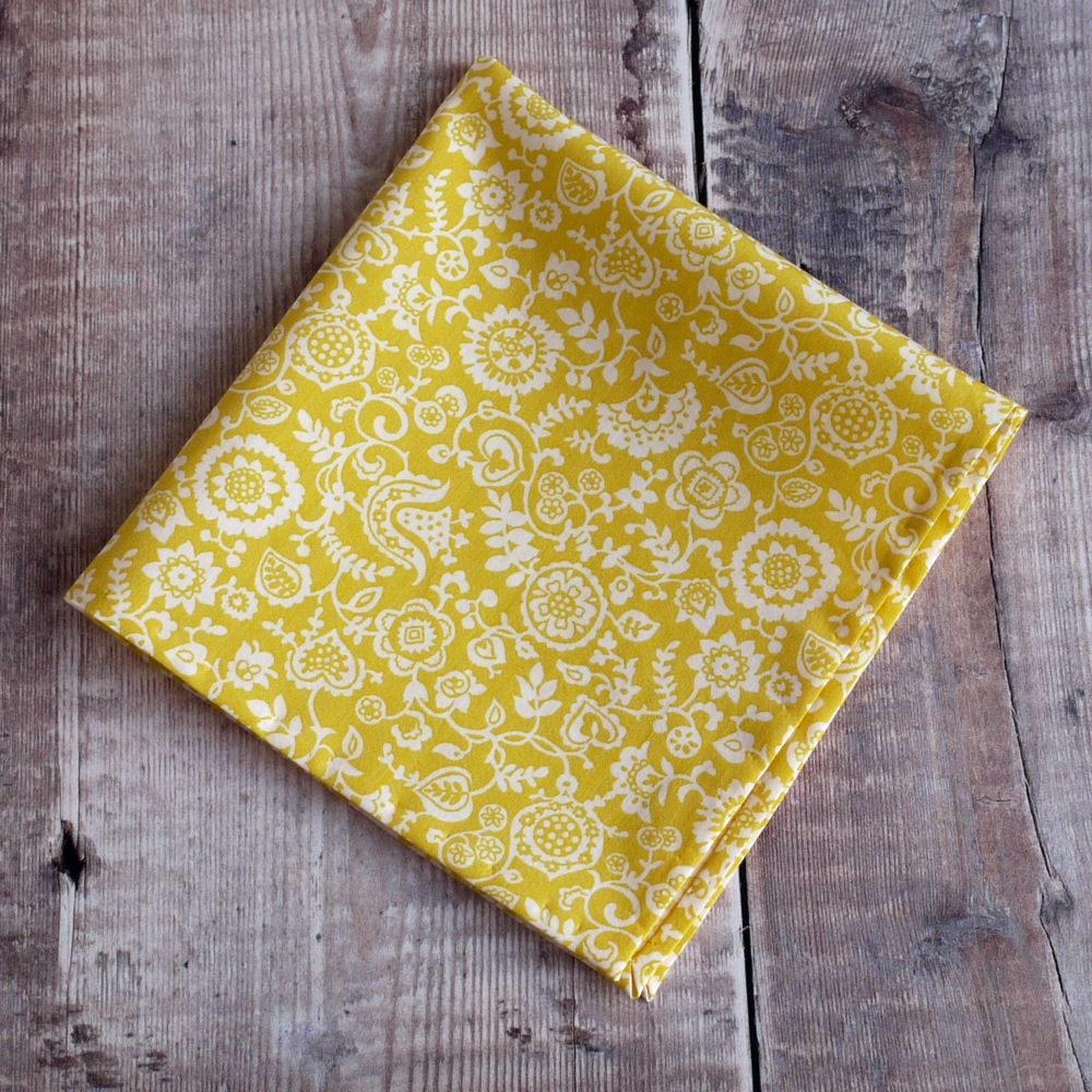 Liberty tana lawn Clare and Emily yellow pocket square
