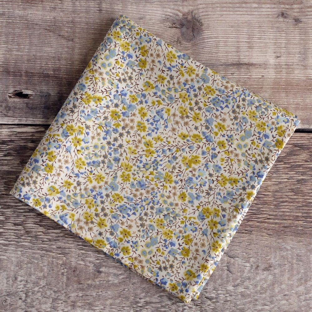 Yellow floral pocket square - Liberty tana lawn Phoebe