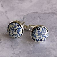 Liberty tana lawn silver plated cufflinks - Katie and Millie blue