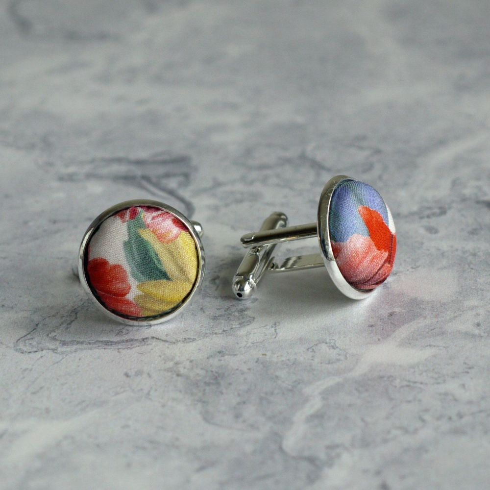 Floral Liberty print cufflinks - Meadow Melody