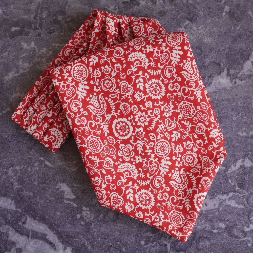 Clare and Emily red Liberty tana lawn cravat