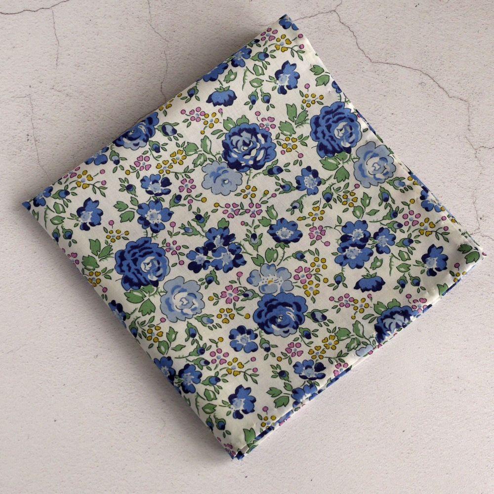 Blue floral pocket square - Liberty tana lawn Felicite