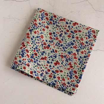 Blue and red floral pocket square - Liberty tana lawn Phoebe