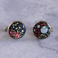 Liberty Elderberry red tana lawn cufflinks