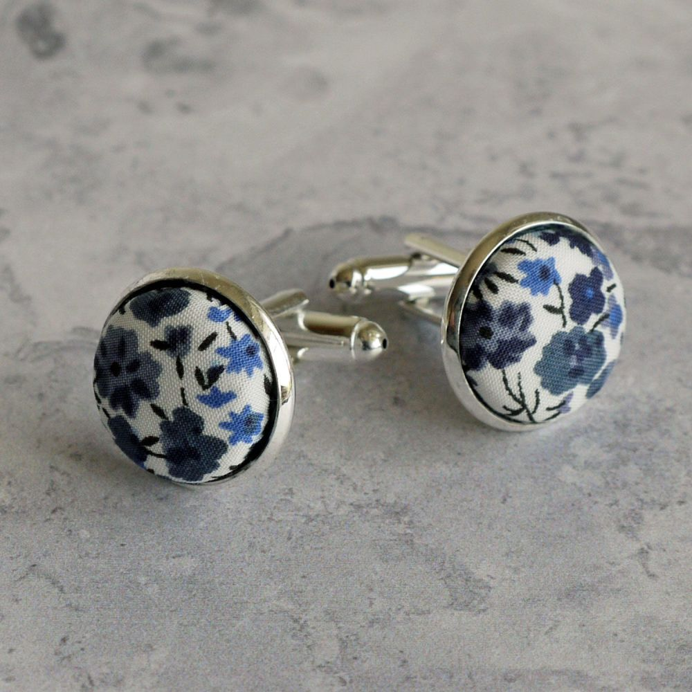 Liberty tana lawn silver plated cufflinks - Phoebe blue grey