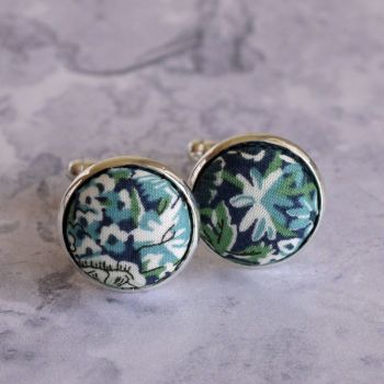 Liberty Chive green silver plated cufflinks