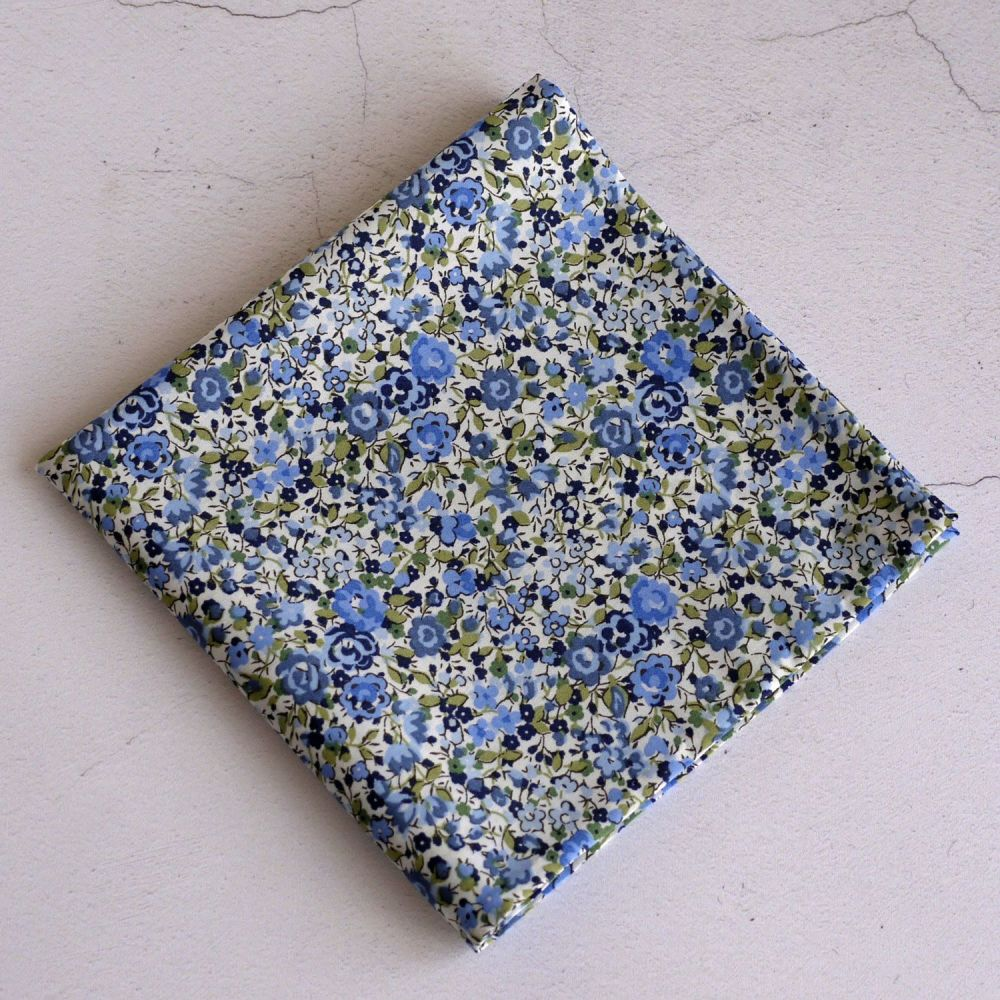 Floral pocket square - Liberty tana lawn Emma and Georgina light blue