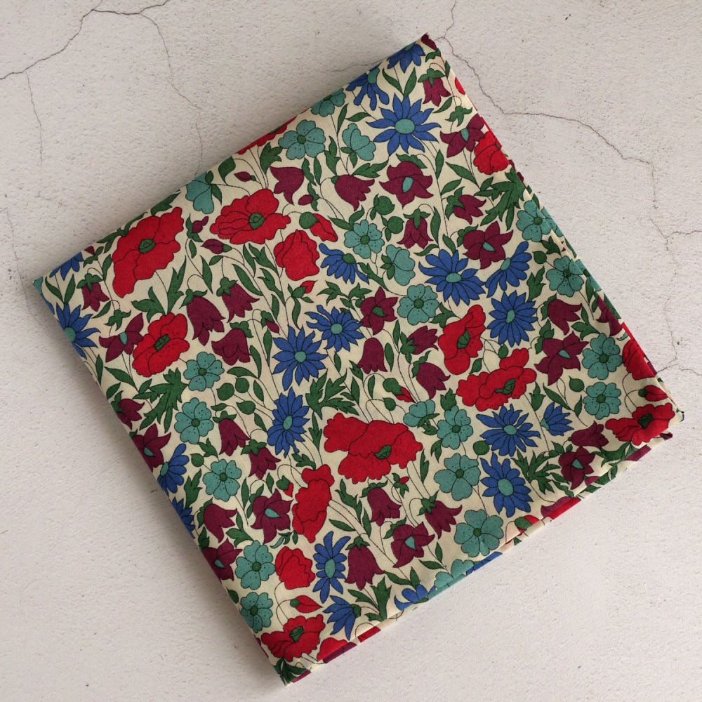 Floral Liberty pocket square - Poppy and Daisy