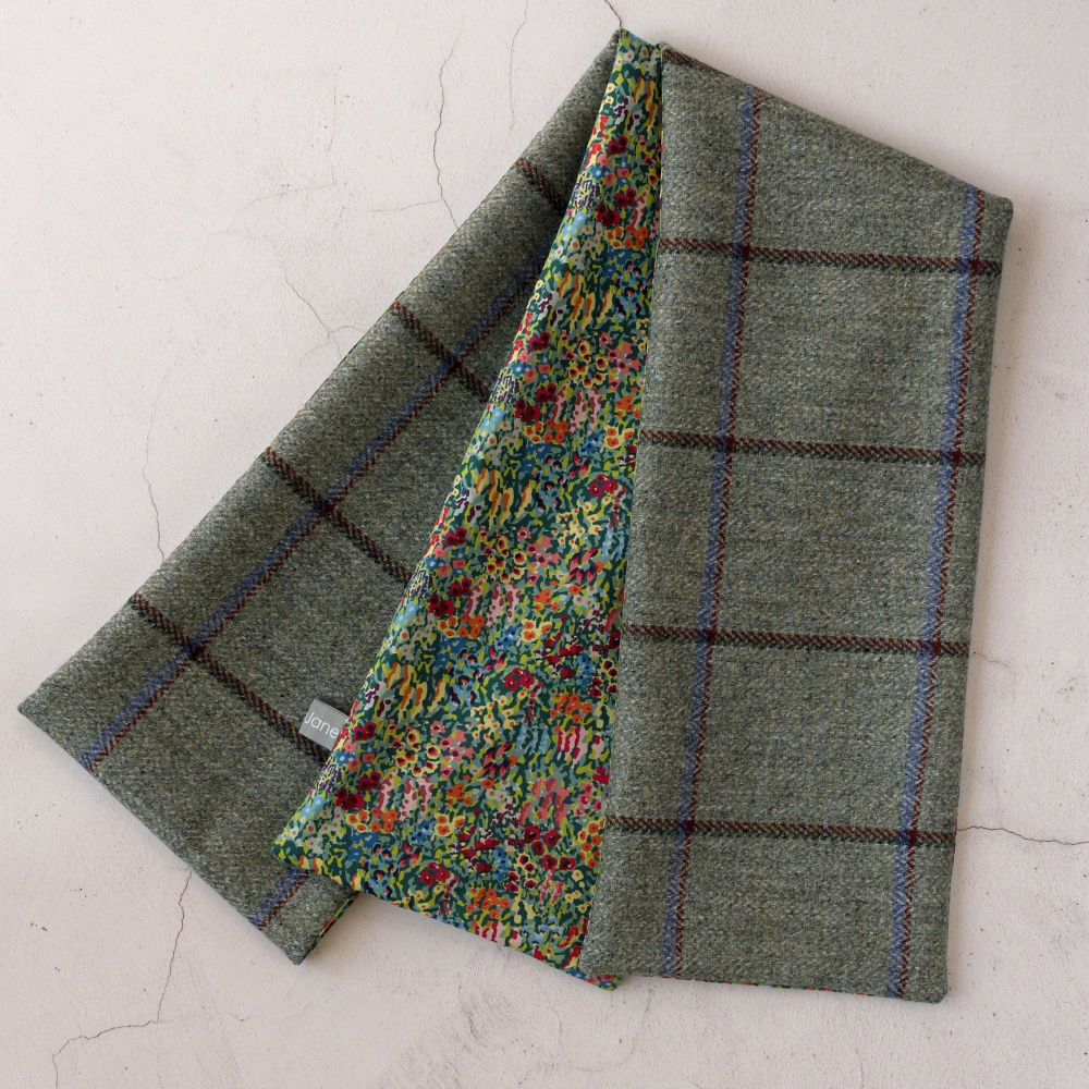 Green check tweed and Liberty Virginia Meadow scarf