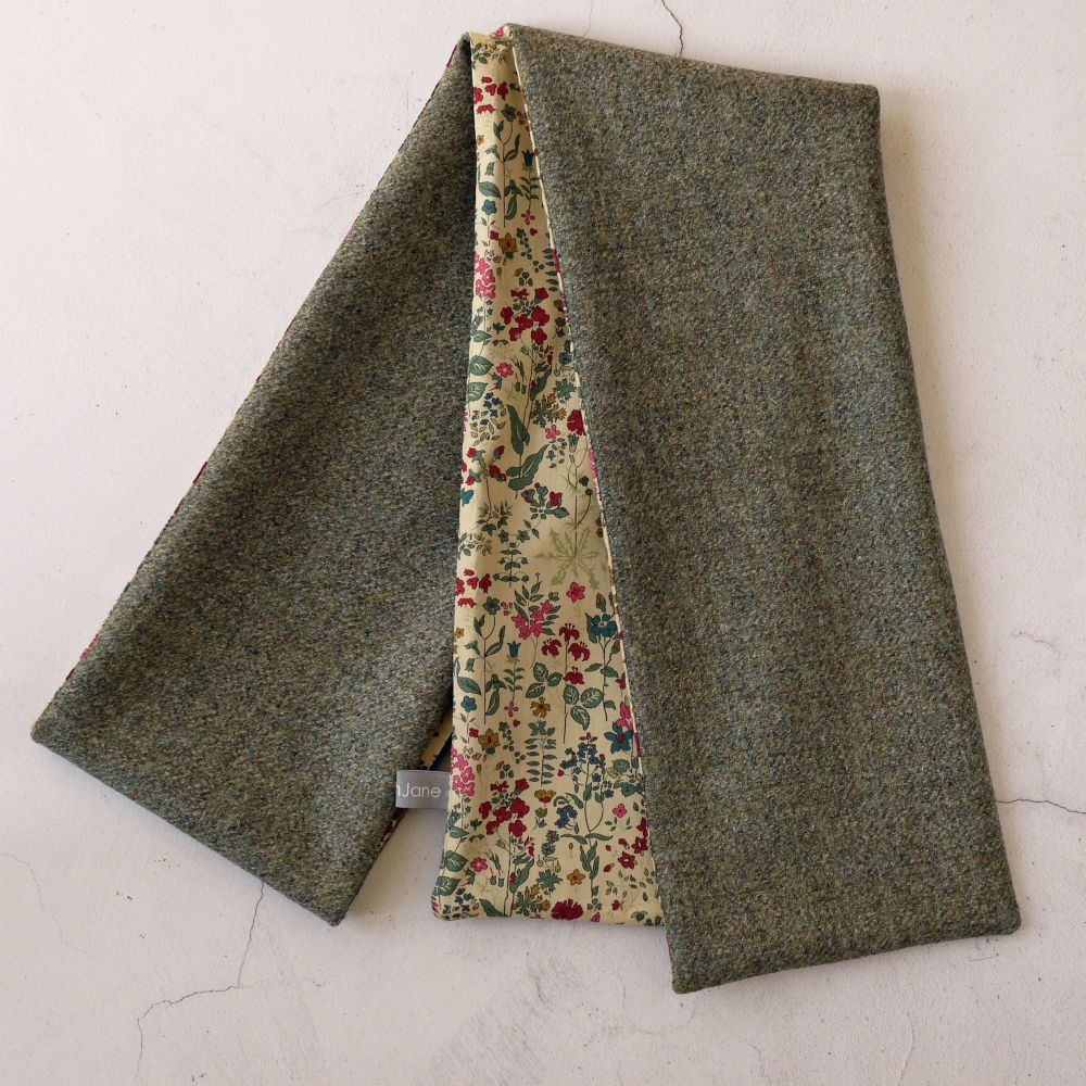 Green tweed and Liberty Field Flowers scarf
