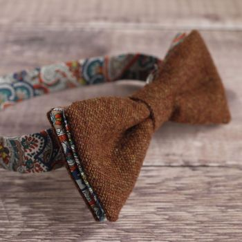 Burnt orange tweed and Liberty print Tessa bow tie