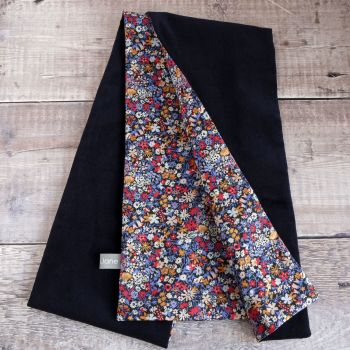Navy Velveteen and Liberty Floral Affair Scarf
