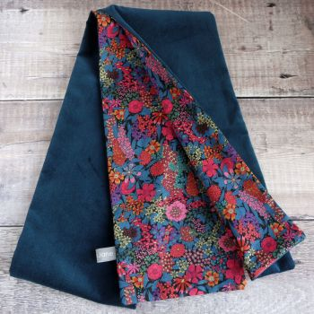 Teal Velveteen and Liberty Ciara Scarf