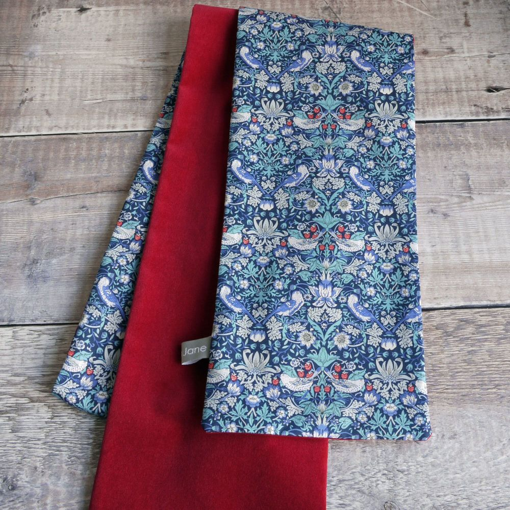 Liberty Strawberry Thief and red velveteen scarf