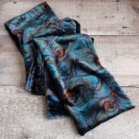 Isadora teal silk velvet scarf made with Liberty fabric