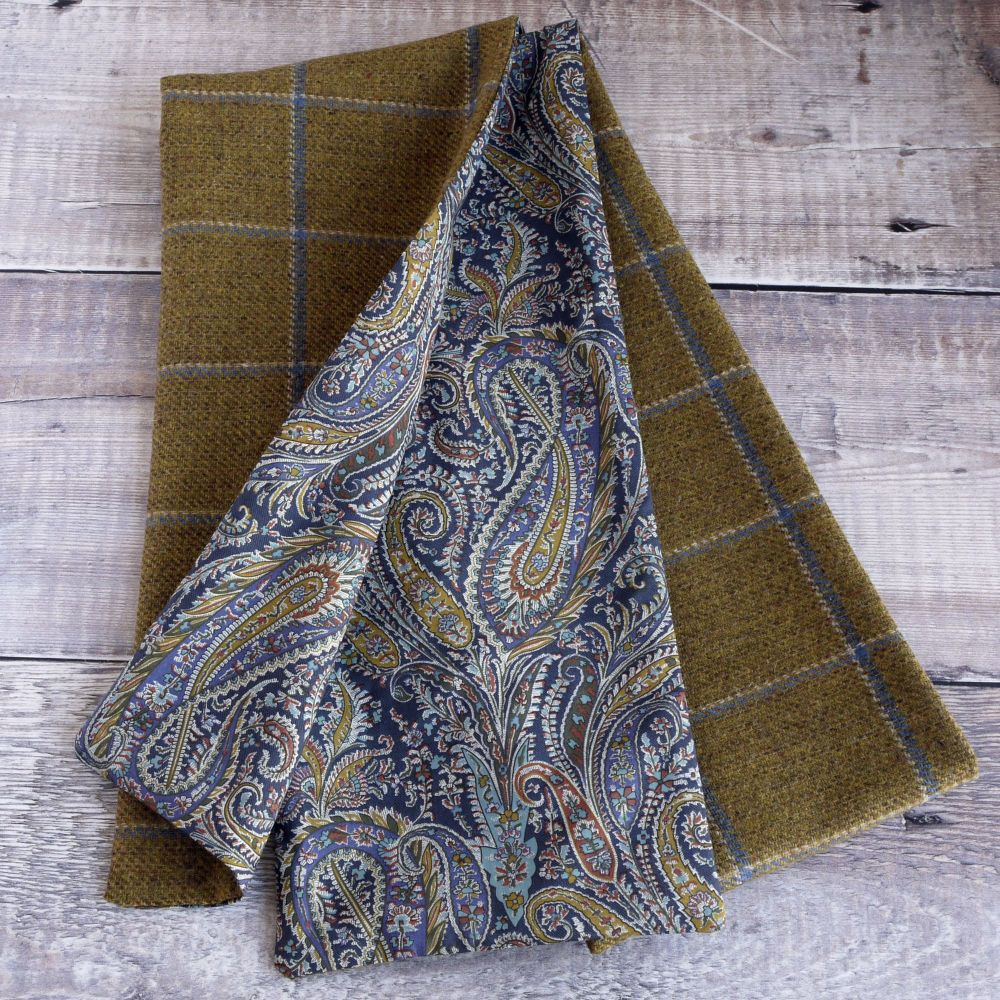 Mustard check tweed and Liberty Felix & Isabelle paisley scarf