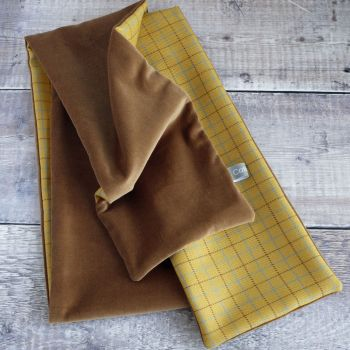 Yellow check wool and tan velvet scarf