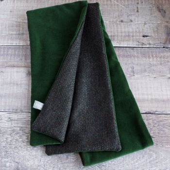 Green velvet and dotty wool scarf