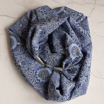 Gambier silk infinity scarf necklace made with Liberty fabric