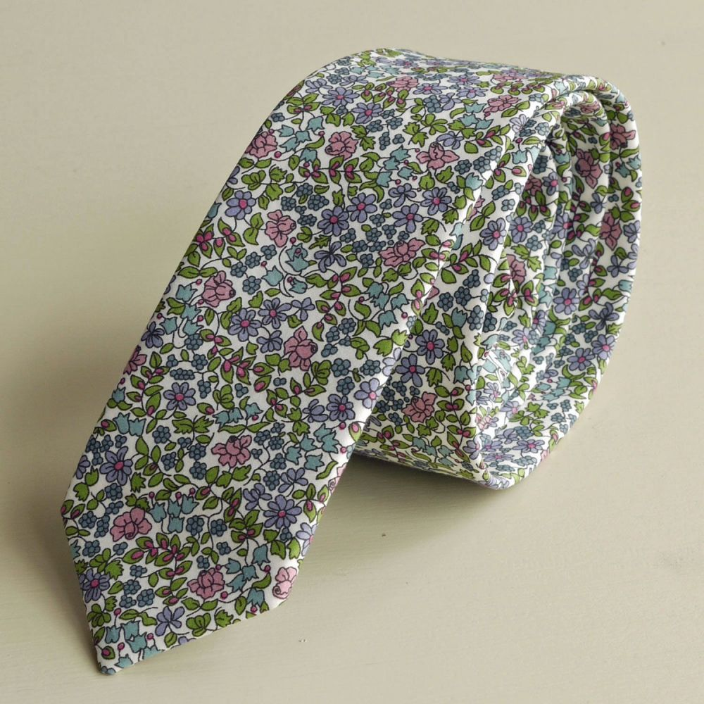 Custom order for 7 floral Liberty tana lawn ties - Emilia's flowers green