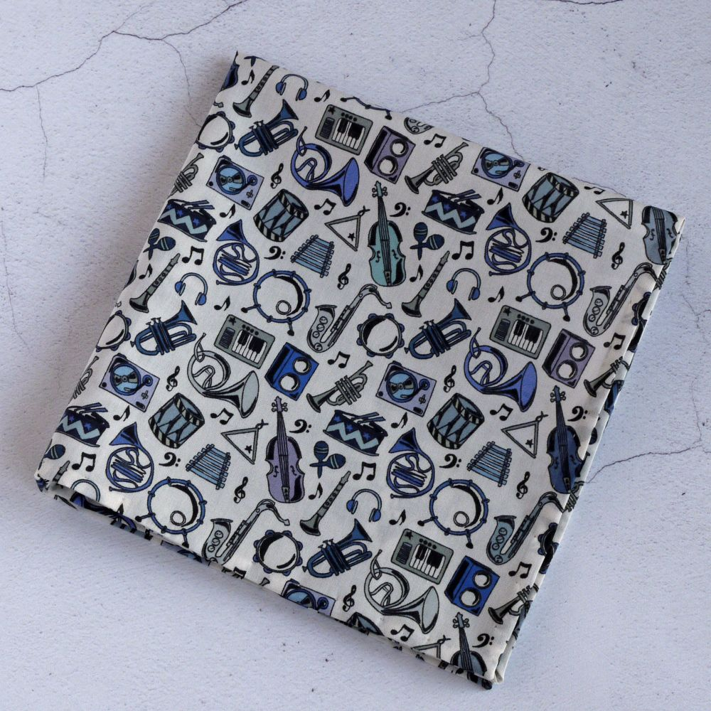 Musical instrument pocket square - Liberty print Miles blue