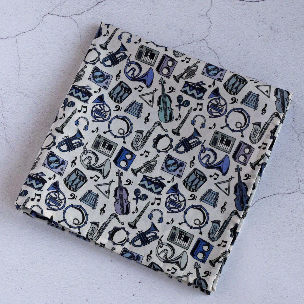 Musical instrument pocket square - Liberty print Miles blue
