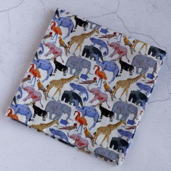 Zoo animals pocket square - Liberty print Queue for the Zoo