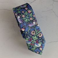 Strawberry Thief green and pink hand-stitched tie made with Liberty fabric