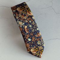 Strawberry Thief bronze hand-stitched tie made with Liberty fabric