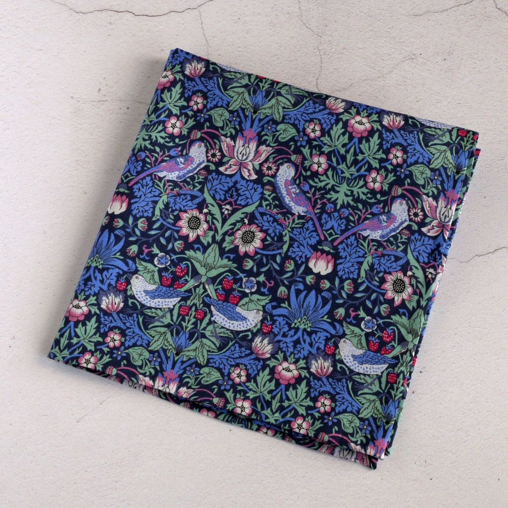 Strawberry Thief green and pink pocket square