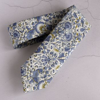 Handstitched blue Liberty print tie - Lodden blue and gold