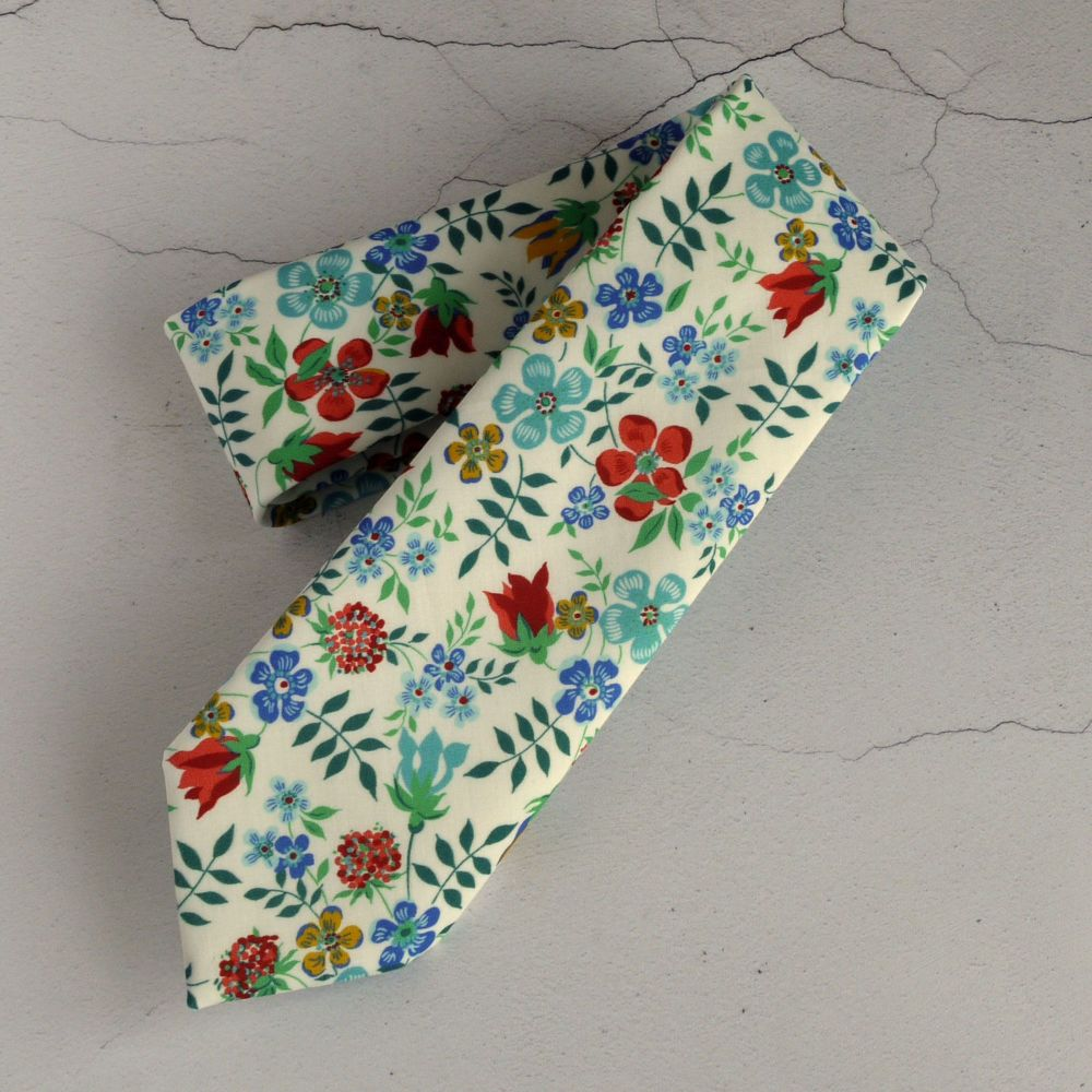 Hand stitched Liberty print tie - Edenham red and blue